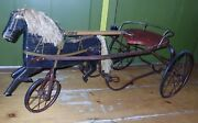 Antique Gendron Horse And Sulky Velocipede Childs Pedal Car Horse Racing Org Paint