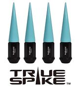 32 True Spike 124mm Steel Extended Spikes Lug Nuts Neon Teal For Ford Excursion