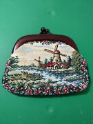 Vintage Hand Bag Purse With Bakelite Top And Latch Nice Windmill Scene--nice