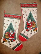 2 Vintage Handmade Quilted 30 L Santa By Tree Christmas Stockings