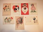 7 Antique 1920's Valentine Postcards - Very Good Used Condition