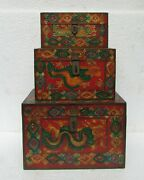 Old Hand Carved Unique Hand Painted Wooden Jewellery Box . Set Of Three Box