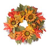 10xartificial Sunflower Wreath 15.8 Inch For Front Door Decoration Fall