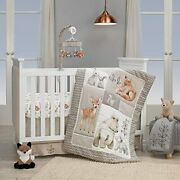 Lambs Andamp Ivy Painted Forest 4-piece Crib Bedding Set Gray Beige White Baby