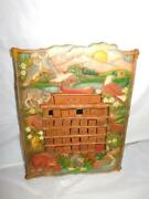 Vintage Old Perpetual Calendar Pisano Carved Wood Wooden Primitive Wall Tole Odd