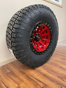 17x9 Fuel D695 Covert Red Wheels 35 Nitto G2 Tires 5x5 Jeep Wrangler Jk Tpms