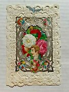 Elaborate Victorian 1800's Layered Valentine's Day Card W/ Paper Lace And Scraps
