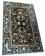 52 Marble Dining Table Top Inlay Rare Semi Antique Center Coffee Table Ar0218