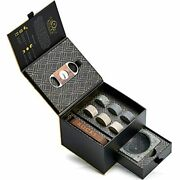 Whiskey Stones Gift Set Cigar Cutter Andamp Ashtray - 6 Handcrafted Round Stones,