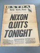 Watergate Nixon Quits Tonight Resigns Newspaper Ny Post August 8 1974