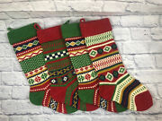 Lot Of Four Retro Style Wool Knit Christmas Stockings 20 In Euc Holiday Decorate