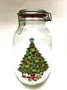 Vintage Hermetic Large Glass Jar Christmas Tree 3l 3/4 Gallon Canister Holiday