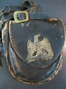 1800's French Shako 2nd Infantry Regiment Leather Pouch With Eagle And Strap