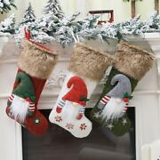 10x3 Pieces 3d Plush Swedish Gnome Christmas Stockings Sock For Fireplace