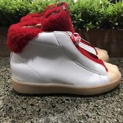 Coach White Red Leather Shearling Boots Size 7 B G1493 Real Dyed Sheep Fur