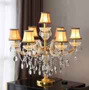European Led Crystal Table Lamp Floor Lamp Candle Arms Stand Light Desk Fixture