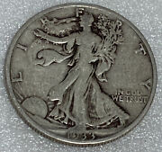 1933 S Walking Liberty Silver Half Dollar F+ Full Date And Rims Awesome Coin 1