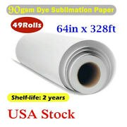 49rolls 90gsm 64 X 328ft Hanji Dye Sublimation Paper For Heat Transfer Printing