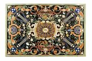 54 Marble Dining Table Top Inlay Rare Semi Antique Center Coffee Table Ar0277