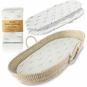 Baby Changing Basket For Nursery Table Set. Moses Basket Thick Diaper Pad 3 Mat