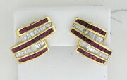 14k Yellow Gold Princess Cut Rubies And Baguettes Omegaback Earrings 4.20 Ctw