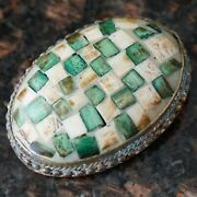 Vintage Pendant - Silver White Green - Oval Unknown Mosaic Tiles Material Inlay
