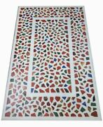 60 Marble Dining Table Top Inlay Rare Semi Antique Center Coffee Table Ar0337