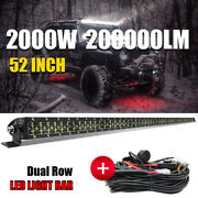 52inch 2000w Led Light Bar Spot Lamp Roof Driving Offroad Truck Boat Suv 4wd 50