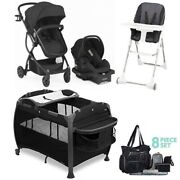 Baby Stroller With Car Seat Travel System Set Playard High Chair Diaper Bag Set