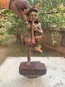 17th C Antique Wooden Hand Carved Tribal Lady Figurine Playing Instrument Statue