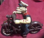 Vintage Cast Iron Hand Painted Popeye On A Motorcycle 2 Pcs Moving Wheels