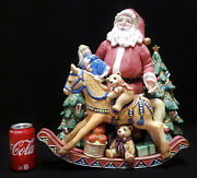Huge Fitz And Floyd Old Fashioned Christmas Santa Clause Centerpiece 18x18x14 Toys