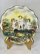 Vintage Capodimonte Plate Porcelain Couple Angels Italy Cherubs 6 And Stand