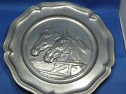 Huge 12.5 Antique German Embossed And Engraved Pewter Deco Plate Two Horse Heads