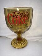Coca Cola Coke Amber Heavy Glass Goblet With Etched Bottom And Red Lettering
