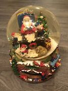 """Large Heavy Vintage Snow Globe W/ Rotating Base """"santa Claus Is Coming To Town"""""""