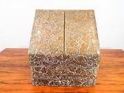 Antique English Brass Repousse Stationary Box 19thc Arts And Crafts Writing Desk