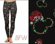 Mickey Minnie Mouse Christmas Holiday Women's Leggings Tc2 Extra Plus Size 20-26
