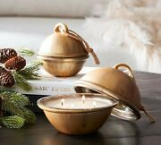 Pottery Barn Jingle Bell Shaped Candle Yuletide Spice Scent 17 Oz Large St. Jude