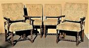 Set Of 6 Antique English Oak Carved Barley Twist Jacobean Style Dining Chairs
