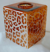 Tissue Box Cover In Glass With Amber And White Animal Print 6x5 1/4 New Dillards