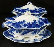 Pair Antique Flow Blue Wh Grindley Argyle Pattern Sauce Tureens Covers And Stands