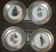 Delano Studios 4 Hand Painted Amston Sterling Silver Rimmed Dickens Coasters