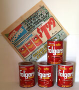 Folger's Coffee Vintage Lot Of Unopened Cans And Ad