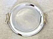 Kromex Mid-century Chrome And Brass Tone Round And Oval Serving Trays X2