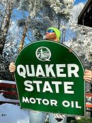 Vintage Rare Quaker State Motor Oil Tombstone Gas Metal Sign W/ Oil Well Graphic