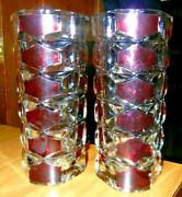 France Crystal Vases Clear/w Dark Red In Glass - Beautiful.