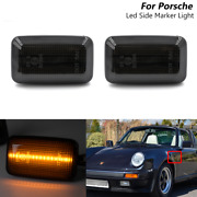 2x Smoked Led Side Marker Turn Signal Lights For 1988-1997 Porsche 911 964 993