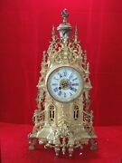Franz Hermle 21 Inch Tall Brass Carved And Marmol Mantel Clock Antique.