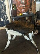 Rare Vintage Americana West Steer Horn Table Mcm Texas Taxidermy Accent Piece